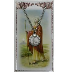 """Amazon.com: Catholic Saints Necklace for Men or Women, Pewter Silver St. Peter Medal & 24"""" Chain, Prayer Card Set. Religious, Inspirational ..."""