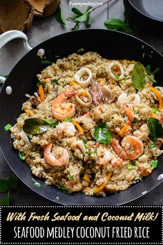 This Seafood Medley Coconut Fried Rice recipe also known in Nigeria as fisherman's rice is a delicious Nigerian coconut fried rice made with fresh coconut milk and fresh seafood medley of shrimp, calamari and crabs from the day's catch. via Yummy Medley Seafood Fried Rice, Fresh Seafood, Seafood Dishes, Seafood Recipes, Seafood Rice Recipe, Recipes With Seafood Medley, Seafood Boil, Coconut Fried Rice, Coconut Milk
