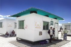 Shelter summerization, Zaatari refugee camp in Jordan: a DIY upper canopy + veranda assembly kit to mitigate shelter internal temperature and offer an external protected space to refugee families.