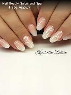 Salon Nails,Oval almond shape, Acrylic nails, ombre nails, Babyboomer style, gel painting Ornaments Designs