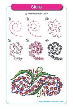Stuha pattern by Jana Pechrová Tangle Doodle, Tangle Art, Zen Doodle, Doodle Art, Zentangle Drawings, Doodles Zentangles, Doodle Drawings, Doodle Patterns, Zentangle Patterns