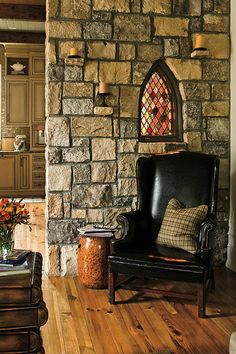 just the wall and the window. i'd want a throne type chair with big pillows instead of the black leather with plaid.