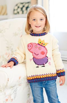 Woman's Weekly in shops on the June features this FAB George pig jumper pattern from the Peppa Pig TV show! Baby Boy Knitting Patterns, Jumper Knitting Pattern, Jumper Patterns, Knitting For Kids, Baby Patterns, Free Knitting, Peppa Pig, Intarsia Knitting, Knit Or Crochet