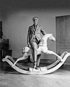 Max Ernst on a Rocking Horse, Paris, 1938