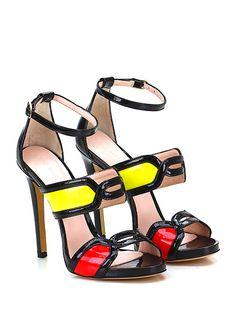 Marc Ellis - Sandalo alto - Donna - Sandalo alto in vernice con cinturino alla caviglia e tomaia lavorata. Suola in cuoio, tacco 115, platform 15 con battuta 100. - NERO\GIALLO\ROSSO - € 199.00