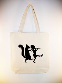Elf with Flute and Squirrel Vintage Silhouette Canvas Tote ANY COLOR IMAGE by Whimsybags, $12.00
