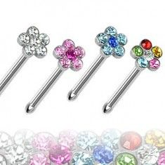 Wholesale Body Jewelry - Hollywood Body Jewelry > Body Jewelry > Nose Rings > Surgical Steel Nose Stud with Multi-Gem Paved Flower Top Nose Earrings, Nose Ring Jewelry, Jewellery, Nose Bone Stud, Wholesale Body Jewelry, Nose Bones, Steel Jewelry, Best Jewelry Stores, Gifs