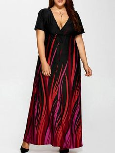 Prezzi e Sconti: Plus #size printed empire waist maxi dress  ad Euro 25.17 in #Women #Moda
