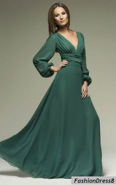 Women's Sexy Dark Green Long Sleeve Cut Out Plus Size Evening Chiffon Maxi Dress Women's Sexy Dark Green Long Sleeve Neckline Plus Size Evening Dress Chiffon Maxi Elegant Dresses For Women, Trendy Dresses, Plus Size Dresses, Nice Dresses, Casual Dresses, Formal Dresses, Sleeve Dress Formal, Cheap Dresses, Long Sleeve Maxi