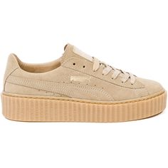 Puma Puma X Rihanna Fenty Suede Creepers (€115) ❤ liked on Polyvore featuring shoes, sneakers, puma, sapatos, zapatos, none, puma creeper, suede leather shoes, creeper sneakers and suede shoes