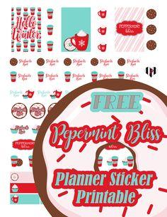 @plannerpickett Free peppermint bliss Starbucks run mug planner sticker printable