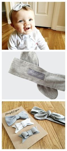@Zoey and Logan | Baby and Kid's Apparel Grey Knotted Headband - handmade with a soft fabric that stretches comfortably around your babies head and looks absolutely gorgeous on all baby girls. *0-12 months *The headband top knot is adjustable so that you can tighten and loosen as your child's head grows.