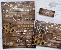 Sunflower Wedding Invitations, Printable Rustic Wedding, Country Wedding invitation, Western Wedding, Cowboy Boot & String Lights