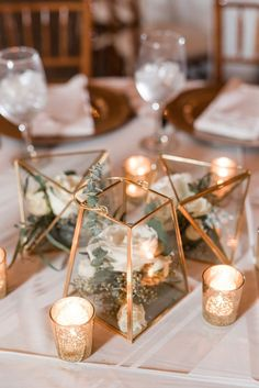 Gold Geometric Terrarium Wedding Centerpiece with garden floral and mercury glass votive holders // classic, boho, rustic