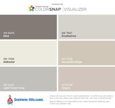Bedroom walls I found these colors with ColorSnap® Visualizer for iPhone by Sherwin-Williams: Accessible Beige (SW Aesthetic White (SW Agreeable Gray (SW Poised Taupe (SW Angora (SW Sea Salt (SW Interior Paint Colors, Paint Colors For Home, House Colors, Paint Colours, Interior Design, Taupe Paint, Taupe Walls, Taupe Bedroom, White Bedroom