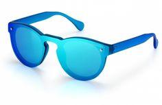 Excape by Living Occhiali da sole linea Me Too Modello 1.6 azzurra trasparente opaca Wayfarer, Mirrored Sunglasses, Unisex, Green