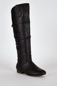 Black Leatherette Rounded Trim Knee Boots