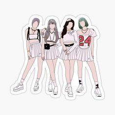 Preppy Stickers, Pop Stickers, Printable Stickers, Draw On Photos, Blackpink Photos, Outline Art, Blackpink Poster, Kpop Drawings, Black Pink Kpop