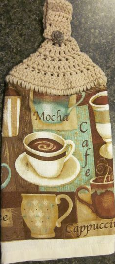 Handmade Crochet Top Kitchen Towel Coffee Theme