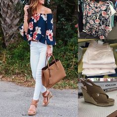 Save this one for the weekend! Floral top + white jeans + cognac accessories via @alyson_haley ?