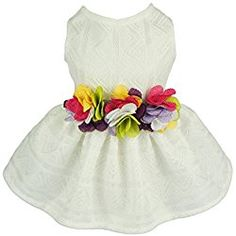 Fitwarm Elegant Floral Dog Sundress Pet Wedding Dress Vest Shirts Cat Clothes, White, XS