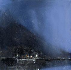 Ørnulf Opdahl: Fergested, 80 x 80 cm Landscape Pictures, Landscape Art, Landscape Paintings, Night Scenery, Oil Painting Pictures, Seascape Paintings, Oil Paintings, Blue Painting, Art For Art Sake