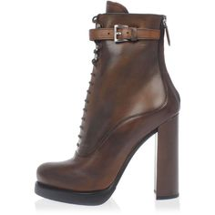 Prada Lace-up Leather Ankle Boots (€500) ❤ liked on Polyvore featuring shoes, boots, ankle booties, brown, brown leather bootie, leather lace up booties, leather lace up boots, brown booties and lace up boots