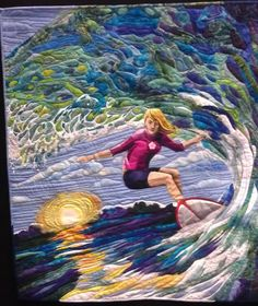 "Amazing ""Riding The Waves"" quilt from the Perth (Australia) Crafts Fair."