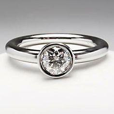 Tiffany & Co .45 Carat Bezel Set Diamond Engagement Ring Platinum Tiffany Bezet Round