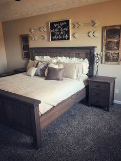 Most Beautiful Rustic Bedroom Design Ideas. You couldn't decide which one to choose between rustic bedroom designs? Are you looking for a stylish rustic bedroom design. We have put together the best rustic bedroom designs for you. Find your dream bedroom. Rustic Master Bedroom, Comfy Bedroom, Modern Bedroom Decor, Dream Bedroom, Master Bedrooms, Bedroom Ideas Master On A Budget, Bedroom Wall Decor Above Bed, Rustic Bedroom Furniture, Bedroom Bed