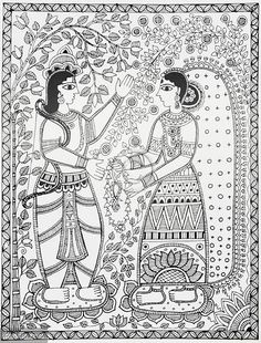 Indian Painting Styles...Madhubani/Mithila  Painting (Bihar)-rama-and-sita-wedding.jpg