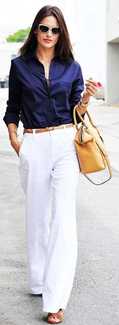 Navy And White Casual Chic Outfit                                                                             Source