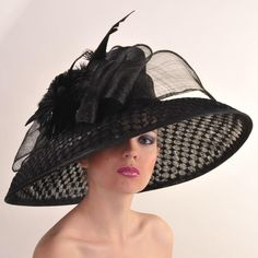 """Black 8"""" Brim Lamp Couture Hat by HAT-A-TUDE"""