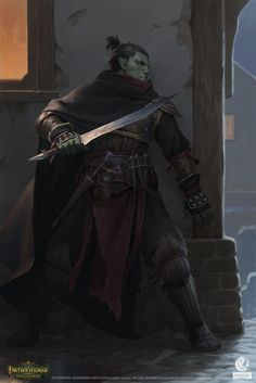 "quarkmaster: ""Assassin Character portrait for Pathfinder: Kingmaker by Owlcat … - Character Design Club 2019 Fantasy Races, Fantasy Warrior, Fantasy Rpg, Fantasy Artwork, Dark Fantasy, Orc Warrior, Fantasy Character Design, Character Design Inspiration, Character Concept"