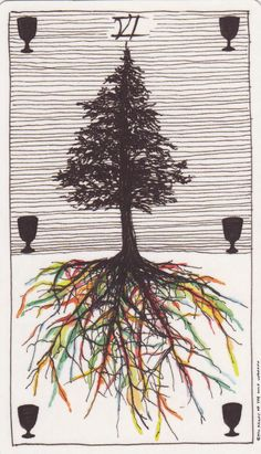 Six of Cups Card from Tarot of the Wild Unknown Deck   Modern Fortune Telling Cards   Oracle Art   Divination