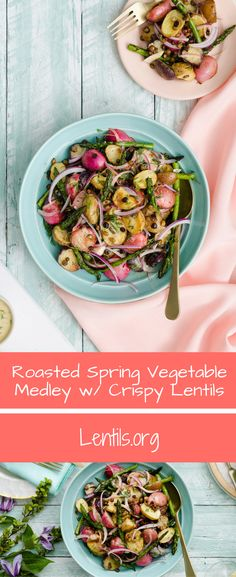 The first of the season's vegetables are roasted then tossed in a tangy mustard lemon vinaigrette. The crispy lentils add a wonderful crunch to a delightful side dish.