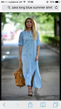 Long Jeans Dress: 20 different models to sweep the look – Fashion Tips Long Denim Dress, Long Shirt Dress, Jeans Dress, The Dress, Outfit Vestidos, Dress Outfits, Casual Dresses, Maxi Dresses, How To Wear Shirt