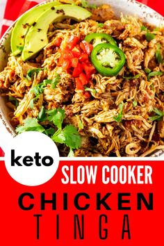 Anytime I can satisfy my cravings for Mexican food in a way that doesn't involve a lot of carbs I am ecstatic. This Slow Cooker Chicken Tinga Recipe is one of my go-to dinners. I prepare the sauce as part of my weekly meal prep, which makes this keto dish an easy weeknight meal. #kickingcarbs #lowcarbrecipe #ketodinner #keto #Ketoslowcooker