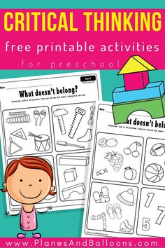 Critical thinking preschool activities to easily use in classroom or at home - Free printable worksheets - Fun activities for developing critical thinking skills in preschoolers - Critical Thinking Activities, Problem Solving Activities, Critical Thinking Skills, Kids Learning Activities, Preschool Worksheets, Kindergarten Activities, Fun Learning, Cognitive Activities, Preschool Prep