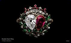 An eighteenth-century French gold, silver, diamond, ruby and emerald ring in the form of two hearts framed by leaves and berries of the myrtle plant (symbol of marriage), surmounted by a viscount's crown. (albionart.com)