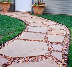 Paving-Stone Path. Mixing different kinds of stone and other materials creates a unique pathway that fits perfectly into any landscape. The goal is to create a pleasing blend and contrast between the materials used. For example, full or broken pieces of cut stone can be combined with fieldstone and gravel to create attractive pathways.