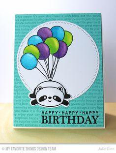 Happy Pandas, Celebrate You, Happy Birthday Background, Happy Pandas Die-namics, Zig Zag Stitch Circle STAX Die-namics - Julie Dinn   #mftstamps