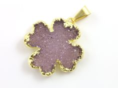 Dazzling Druzy 4 Leaf Clover Pendant, Single Bail Gold Electroplated Edge, 25x25mm, A+ Gorgeous Quality, 1 Piece (DZY/CLV/125) by Beadspoint on Etsy