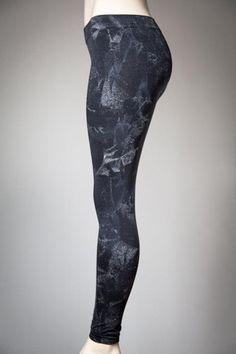 Hand-painted Black/Silver Leggings