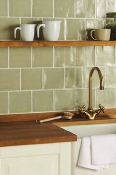 Winchester Tile Company Residence Range - Cosmopolitan : Mere Field Tile 130x130 Display Olive Green Kitchen, Brick Tiles, Kitchen Tiles, Country Kitchen, Cosmopolitan, Winchester, Household, Sink, Kitchens