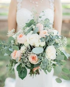 Spring wedding bouquet idea - white and peach wedding bouquet idea - Find your florist on WeddingWire! {Lena's Flowers and Catering} wedding flowers Lena's Flowers and Catering - Catering - Gilbert, AZ - WeddingWire Simple Wedding Bouquets, Wedding Flower Guide, Peony Bouquet Wedding, Spring Wedding Flowers, Rustic Wedding Flowers, Wedding Flower Arrangements, Bridal Flowers, Floral Wedding, Peonies Bouquet