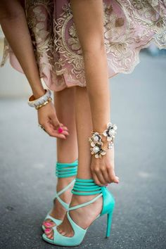 Turquoise sexy strappy heels - I don't know what I'd wear these with, but they sure are pretty!