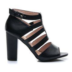Czarne sandały damskie obcas słupek Heeled Mules, Peeps, Blog, Peep Toe, Shoes, Fashion, Moda, Zapatos, Shoes Outlet