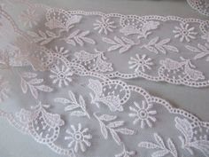 Vintage white lace embroidered Switzerland by PinkBirdhouseVintage, $6.50