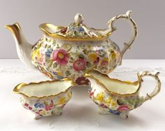 This vintage Hammersley tea set, is in the Georgian Style and has been hand painted in the Queen Anne Chintz pattern. This is a large 6 cup. sold on etsy $400.00
